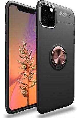 Herdem Apple iPhone 11 Pro Kılıf Yüzüklü Mıknatıslı Silikon Siyah - Rose Gold