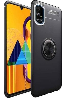 Herdem Samsung Galaxy A51 Kılıf Yüzüklü Mıknatıslı Silikon Siyah