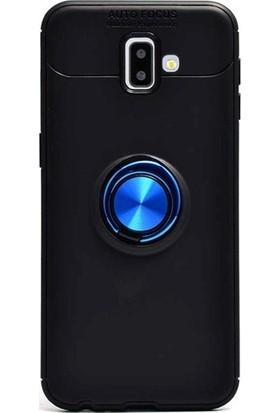 Herdem Samsung Galaxy J6 Plus 2018 Kılıf Yüzüklü Mıknatıslı Silikon Siyah - Mavi