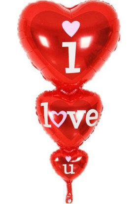Acar Süs 3'lü Kalp I Love You Folyo Balon 45 x 86 cm