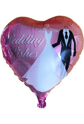 Acar Süs Kalpli Gelin Damat Baskılı Folyo Balon 38 x 35 cm