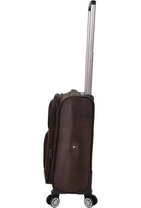NK Kabin Boy Valiz 4 Tekerlekli Kumaş Kahverengi Nk Valiz 0012