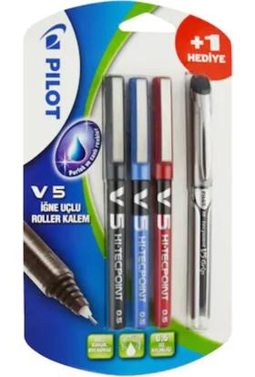 Pilot V5 - Siyah-Mavi-Kırmızı 3'lü Blister V5-Smk-Bl3+1