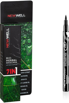 New Well Bio-Herbal Mascara 7 In 1 + Kalem Eyeliner Ultra Black
