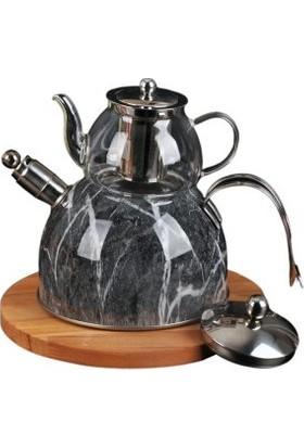 İkra Home Düdüklü Çaydanlık Mermer Desenli Cam Paslanmaz Çelik 3,6 lt