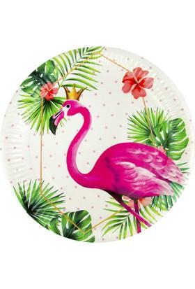 Acar Süs Flamingo Baskılı Karton Tabak 8'li 23 cm
