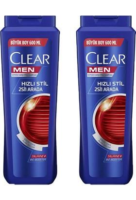 Clear Men Hızlı Stil 2si1 Arada Şampuan 600ML X2 Adet