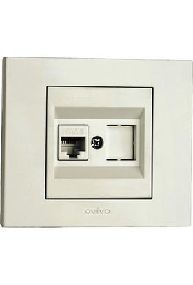 Ovivo Grano Numeris Telefon Prizi Cat3 Beyaz Mekanizma + Çerçeve
