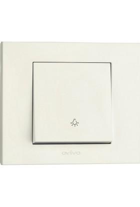 Ovivo Grano Sıva Altı Light Anahtar Beyaz Mekanizma + Çerçeve