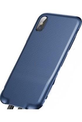 Baseus iPHONE x - Xs Çift Giriş Dönüştürücü Kılıf Audio Case - Lacivert