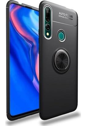 Herdem Huawei Y9 Prime 2019 Kılıf Yüzüklü Mıknatıslı Silikon Siyah