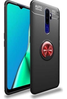 Herdem Oppo A9 2020 Kılıf Yüzüklü Mıknatıslı Silikon Siyah - Kırmızı