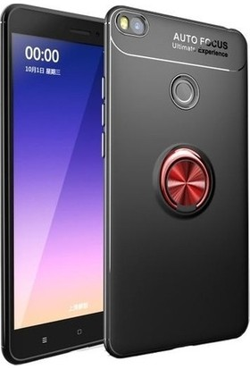 Herdem Xiaomi Mi Max 2 Kılıf Yüzüklü Mıknatıslı Silikon Siyah - Kırmızı