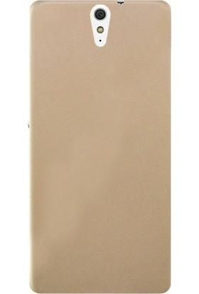 Herdem Sony Xperia C5 Ultra Kılıf Ultra Lüx Soft Mat Silikon Gold