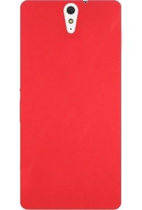 Herdem Sony Xperia C5 Ultra Kılıf Ultra Lüx Soft Mat Silikon Kırmızı