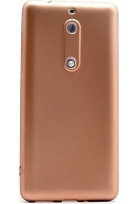 Herdem Nokia 5 Kılıf Ultra Lüx Soft Mat Silikon Gold