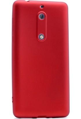 Herdem Nokia 5 Kılıf Ultra Lüx Soft Mat Silikon Kırmızı