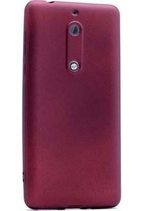 Herdem Nokia 5 Kılıf Ultra Lüx Soft Mat Silikon Bordo