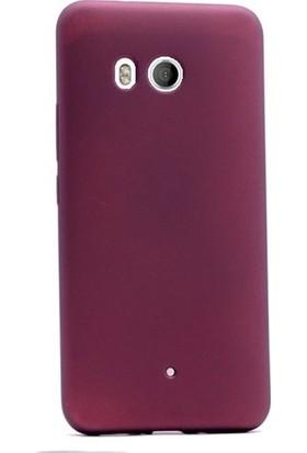 Herdem HTC U11 Kılıf Ultra Lüx Soft Mat Silikon Bordo