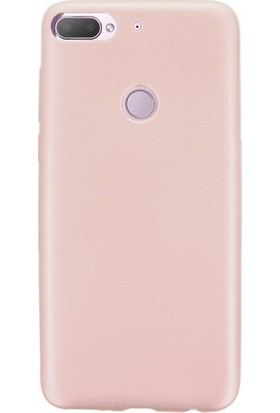 Herdem HTC Desire 12 Plus Kılıf Ultra Lüx Soft Mat Silikon Rose Gold