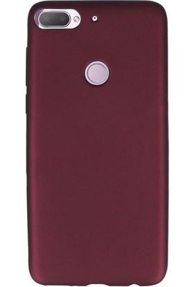Herdem HTC Desire 12 Plus Kılıf Ultra Lüx Soft Mat Silikon Bordo