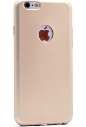 Herdem iPhone 5 5S 5SE Kılıf Ultra Lüx Soft Mat Silikon Gold