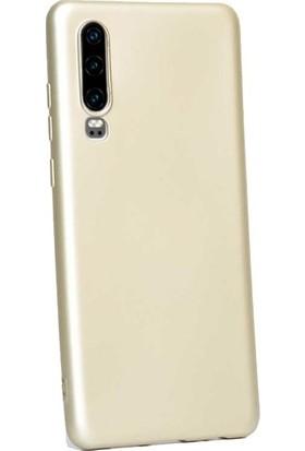 Herdem Huawei P30 Kılıf Ultra Lüx Soft Mat Silikon Gold