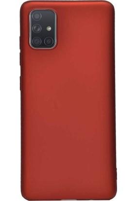 Herdem Samsung Galaxy A51 Kılıf Ultra Lüx Soft Mat Silikon Kırmızı