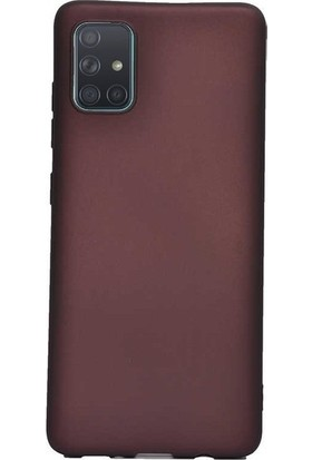 Herdem Samsung Galaxy A71 Kılıf Ultra Lüx Soft Mat Silikon Bordo
