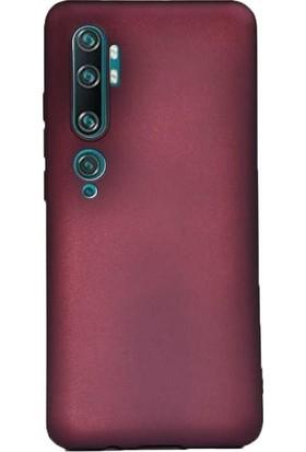 Herdem Xiaomi Mi Note 10 Kılıf Ultra Lüx Soft Mat Silikon Bordo