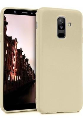 Herdem Samsung Galaxy A6 Plus 2018 Kılıf Ultra Lüx Soft Mat Silikon Gold