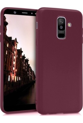Herdem Samsung Galaxy A6 Plus 2018 Kılıf Ultra Lüx Soft Mat Silikon Bordo