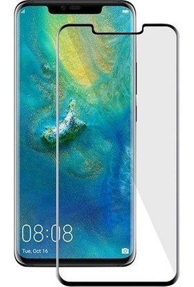 Herdem Huawei Mate 20 Pro Ekran Koruyucu 5D Tam Kaplayan Cam - Siyah