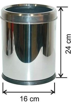 Arı Metal 1432 Ofis Tipi Çemberli Çöp Kovası Paslanmaz Çelik 3 lt