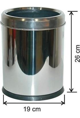 Arı Metal 1433 5 lt Ofis Tipi Çemberli Çöp Kovası Paslanmaz Çelik