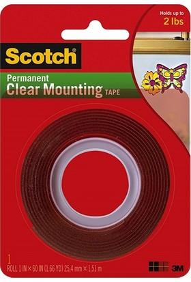 Scotch 4010 Çift Taraflı Şeffaf Silikonlu Montaj Bandı