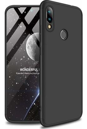 Herdem Xiaomi Redmi Note 7 Kılıf 360 Derece Tam Koruma Sert Rubber Siyah