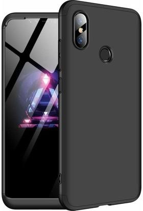 Herdem Xiaomi Mi 8 SE Kılıf 360 Derece Tam Koruma Sert Rubber Siyah
