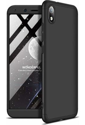 Herdem Xiaomi Redmi 7A Kılıf 360 Derece Tam Koruma Sert Rubber Siyah