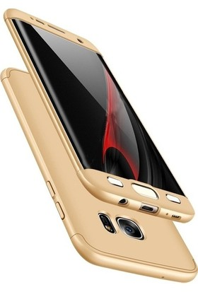 Herdem Samsung Galaxy S7 Edge Kılıf 360 Derece Tam Koruma Sert Rubber Gold