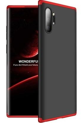 Herdem Samsung Galaxy Note 10 Plus Kılıf 360 Derece Tam Koruma Sert Rubber Siyah - Kırmızı