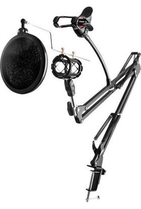 Wlue Hareketli Flexi Mikrofon Standı Telefon Tutucu + Pop Filtre