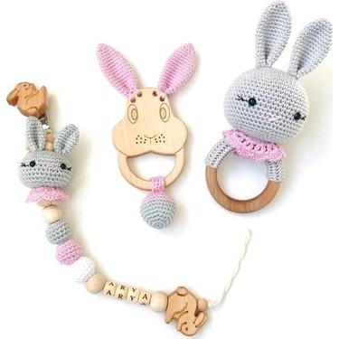 Bebek-Çocuk -Amigurumi Tavşanlı, Çıngıraklı Emzik Zinciri Yapımı ... | 375x375
