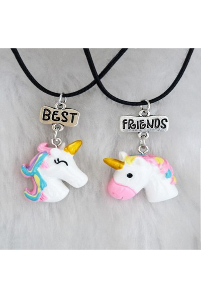 AlpCollection Unicorn Best Friends 2'li Çift Suni Deri İpli Kolye