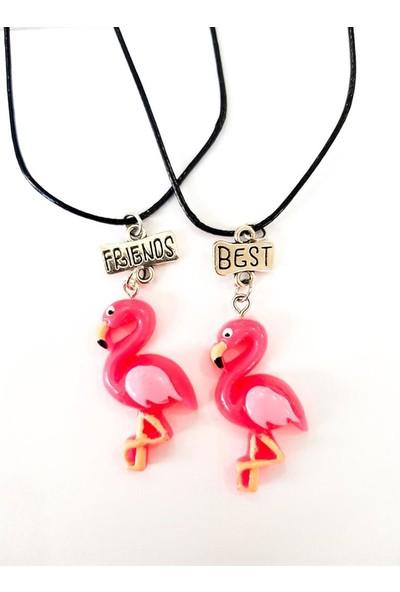 AlpCollection Pembe Flamingo Best Friends 2'li Çift Suni Deri İpli Kolye