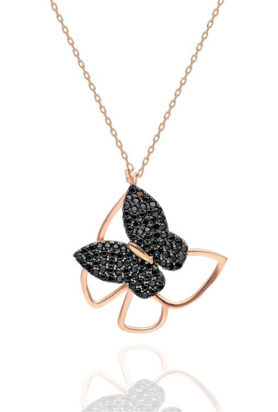 Sanal Bolluk Siyah Taşlı Çerçeveli Kelebek Model Bayan Kolye