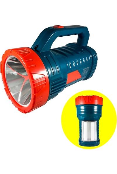Yopigo Silver Projektör 15W LED Şarjlı El Feneri ve X2 Tüp 26SMD Led Çift Yönlü Masa Lambası