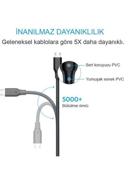 Anker PowerLine+ Lightning 0.9 Metre Örgülü Apple Lisanslı iPhone iPad Kablo - Beyaz - Taşıma Çantalı - A8142