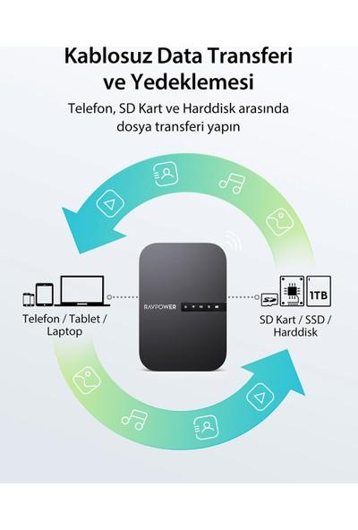 RAVPower RP-WD009 FileHub/AC750 Router/Kablosuz SD Kart Okuyucu/Taşınabilir NAS 6700 mAh 83-13000-005