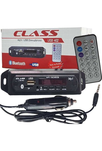 Class USB - 402 Araç Için Mikrofonlu USB-AUX-SD Kart Çevirici Modül